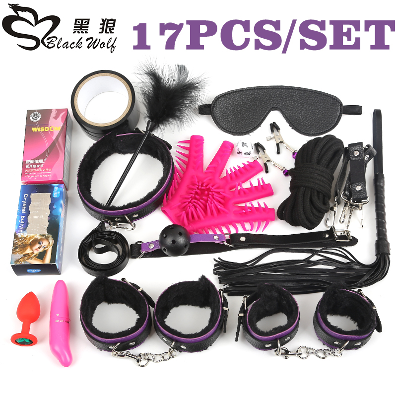 Black Wolf 17Pcs /set BDSM Bondage Set Plush Leather Fetish sex Bondage nipple Clamps Ball Gag Eyes Mask SM Handcuffs Erotic toy