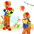 Clown Costumes Cheap Children Kids Suit Top+Pant Halloween Carnival Clown Costumes Thin Performance Clown Clothing Set Costume