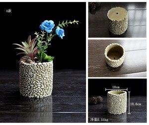 Image 2 - Moules de ciment en Silicone, pot de fleurs en Silicone, multi viande, Vase 3D pour bureau, plantation de ciment, artisanat décoratif à domicile