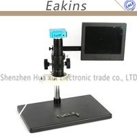 16MP Full HD 1080P 60FPS HDMI VGA Industry Digital Microscope Camera +Big Stand+300X/180X C MOUNT Lens+56 LED Light Ring+8 LCD