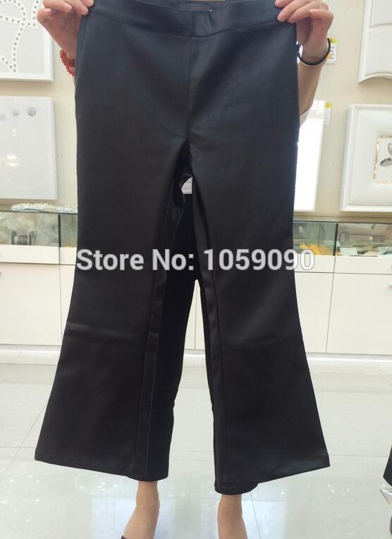 Recadrée Nouveau Kick Pantalon Faux 2017 Piste élastique Noir Femmes Cuir Noir Imitation Slim Taille rouge Cuir Flare Design ivoire Printemps En 5O8AqA