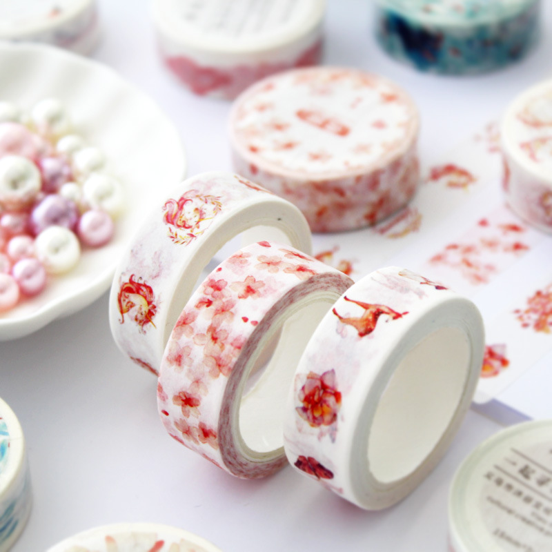 1Rolls Decorative Paper Sticker Washi Tape And Paper Animal Flower Japanese Stationery Masking Tapes Diy Scrapbooking Sticker 7m