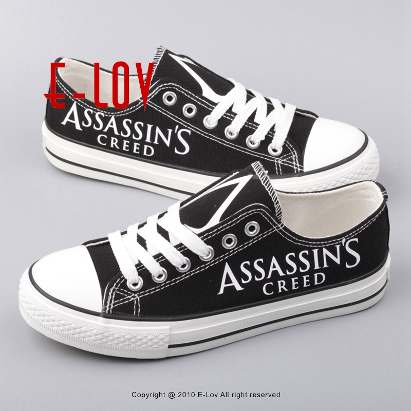 Hot Sale Cosplay Assassins Creed Print Shoes Women Girls Canvas shoes Assassin Creed Fans Customization Lace-up Shoes Big Size