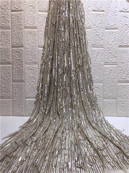 Upscale Style Sequins Lace Fabric Tassels Sequined Embroidered Guipure Net Lace African Wedding Dresses Sewing Mesh Material