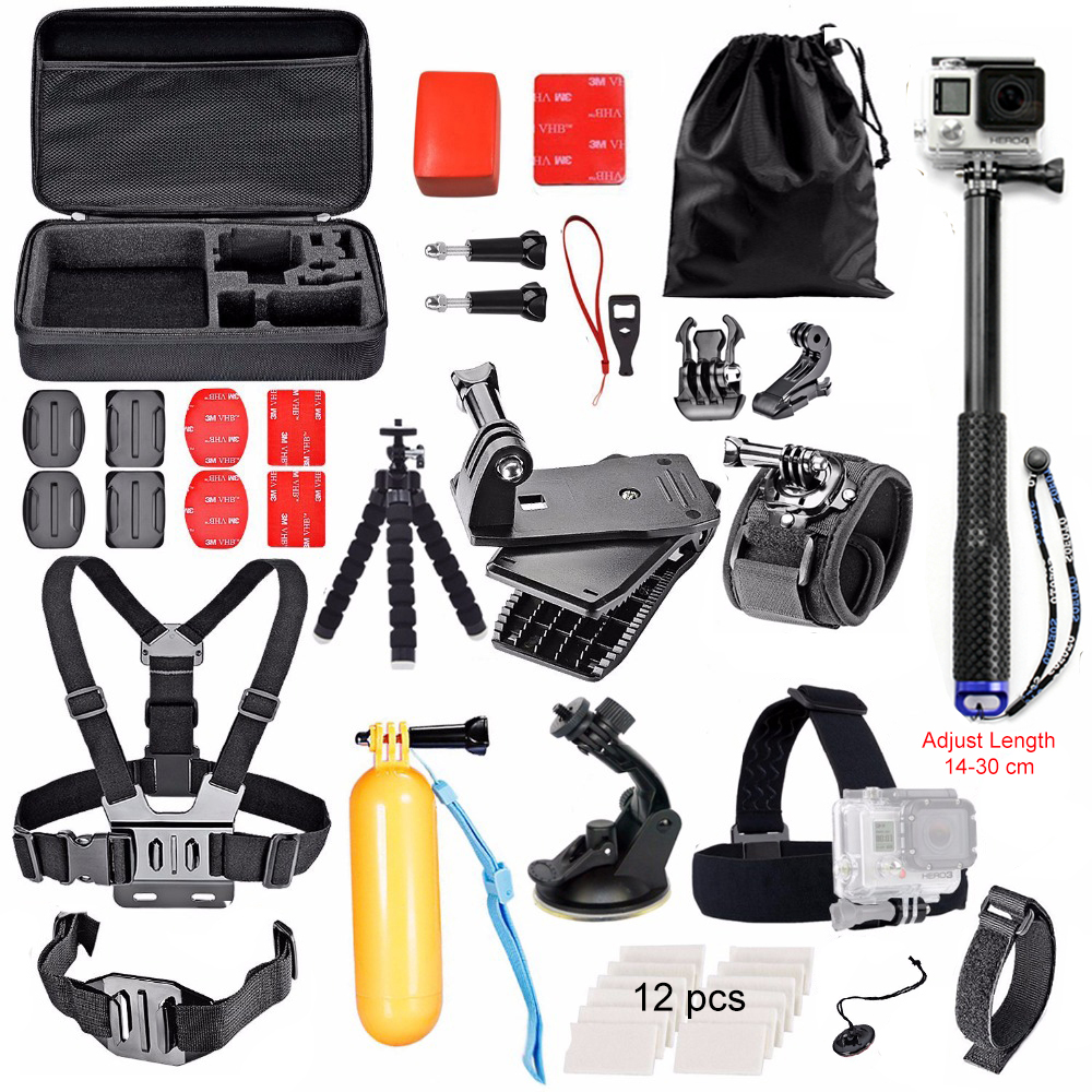 Aluminum Monopod Selfie Accessories Set Kit for Gopro hero 5 SJCAM SJ4000 Action Camera Chest head Hand Mount Bag for SJCAM gopro 4 session sjcam xiao yi sj4000 kit accessories collection storage bag case with monopod strap for sports camera