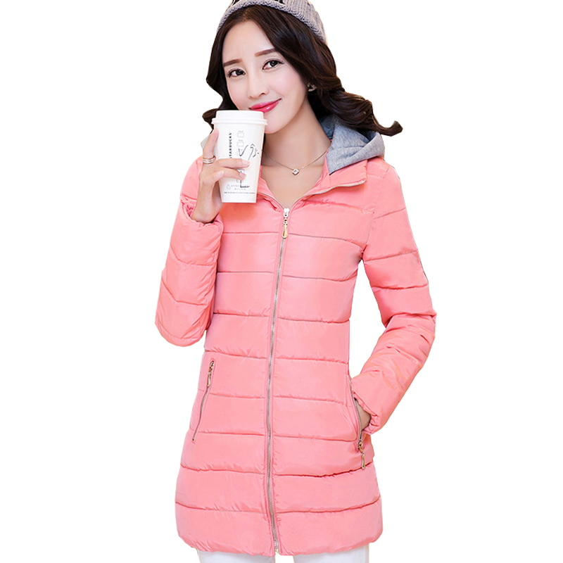ФОТО 2016 New Fashion Long Winter Jacket Women Slim Hooded Thicken Parka Female Jacket Coat Down Cotton Lady Causal Outerwear