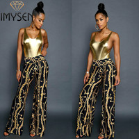 Women Pants IMYSEN Summer Autumn Fashion Chains Printed Pants High Waist Straight Female Trousers New Arrive