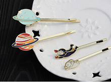 H126 Free shipping Planet Saturn Rabbit Astronaut Hair Clip Hair Pins Girls Lovely Hair Accessary Wholesale .