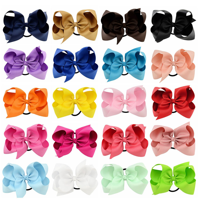 20pcs/lot  6 Big Solid Ribbon Bows With Elastic Bands Girls Large Grosgrain Bow Headband Hair Ties Boutique Hair Accessories high quality denim large bow headband for girls denim boutique hair bows hairbands girls hair accessories headwear