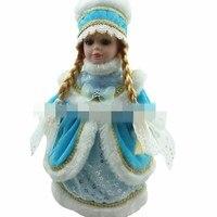 30cm winter blue sky frozen queen dress Russian traditional girl doll frozen queen porcelain doll simulation ceramic dolls