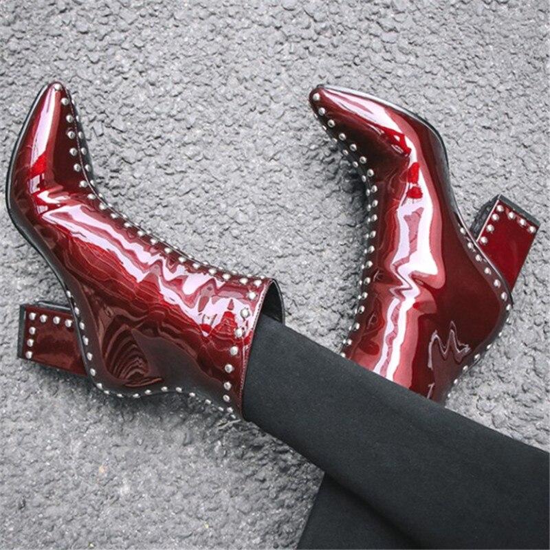 Courtes Pic Cheville Chaude As Chunky Rivets Zipper Nouveaux Bottes Botas Métal Feminino Dames Chaussures Pointedtoe Mujer Talon Sapato Femmes Pic as dUwU4S