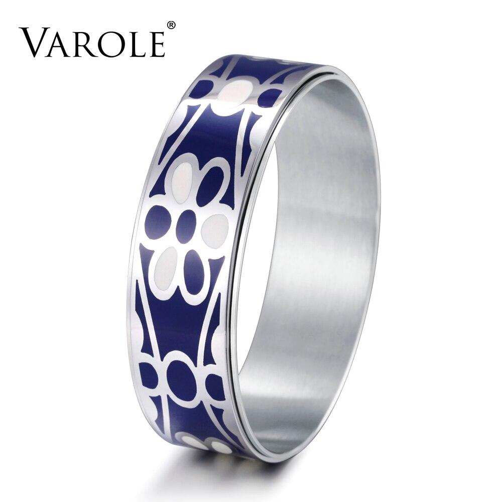 VAROLE 20mm Width flower Trendy Bracelets Cuff Bangle Stainless Steel Enamel fashion Bangles Accessories for Women Jewelry Gifts varole fashion enamel opening bracelets