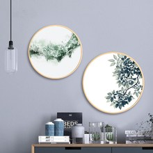 Nordic style solid wood round decorative painting simple modern living room paintings restaurant Small fresh Green plant mural