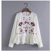 ヴィンテージカラフルな花刺繍戻るボタンtシャツ新しい女