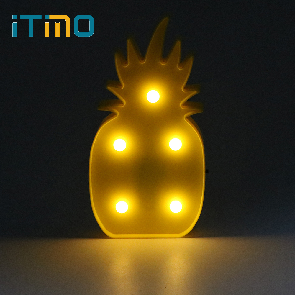 iTimo Kids Night Light Cute 3D Pineapple Butterfly Table Wall Lamp For Baby Bedroom Decoration New Years Lights Lighting