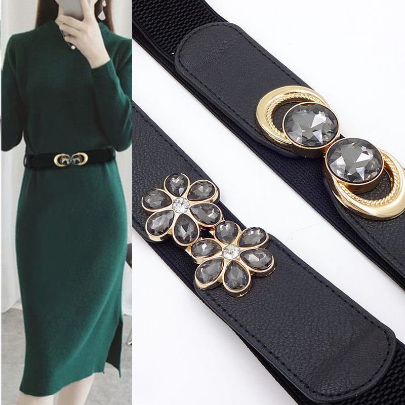 New Womens Wide Belts Dress Wild Fashion Decoration Ladies Wide Belt High-grade Black Buckle Elastic Waist Belt Harajuku