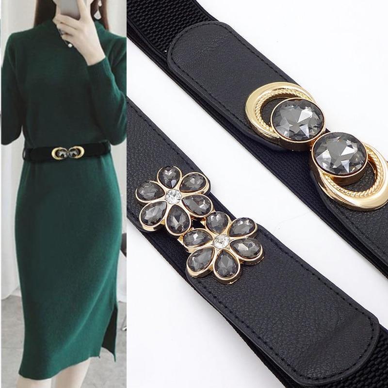 New Womens Wide Belts Dress Wild Fashion Decoration Ladies Wide Belt High-grade Black Buckle Elastic Waist Belt Harajuku