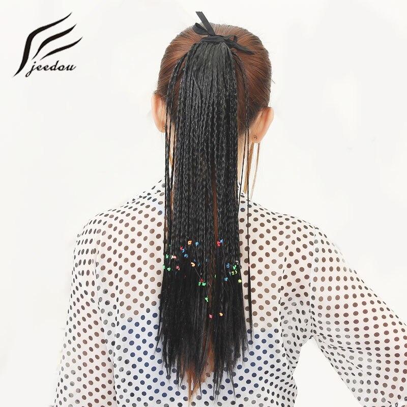 Jeedou 100 г 45 см прямые синтетические косы хвостик чёрный; коричневый ленты шнурок хвост волос полный личности ...