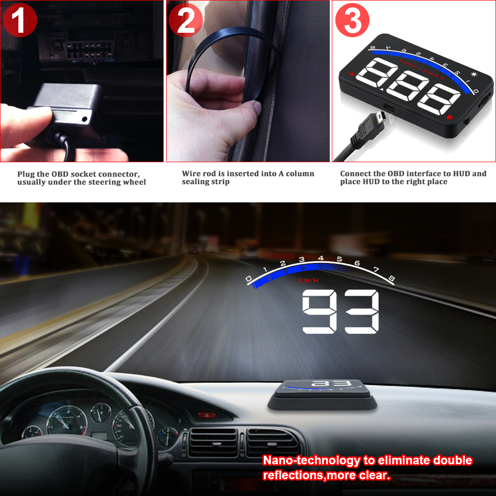 Image 4 - GEYIREN Auto Electronic Overspeed Warning System Water Temperature Alarm Car HUD OBD2 RPM Meter M6 Head Up Display-in Head-up Display from Automobiles & Motorcycles
