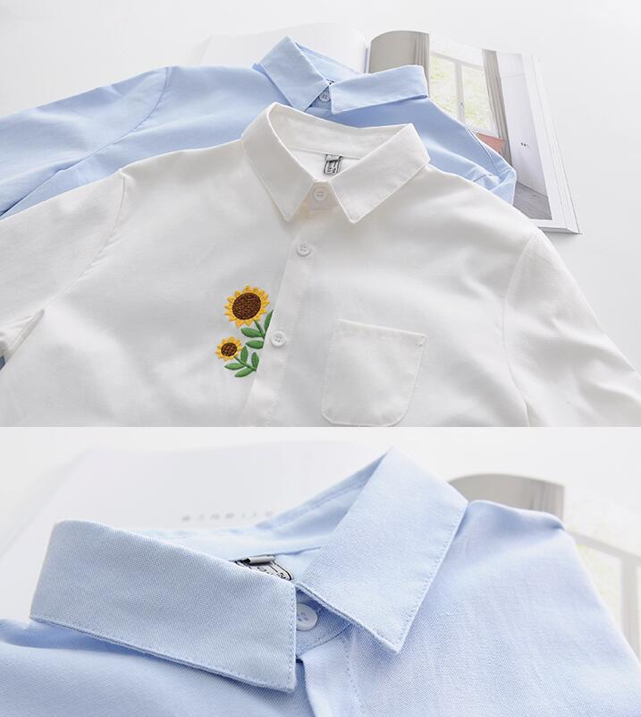 Dioufond Sunflower Embroidery Shirts Women Cotton White Blouses Long Sleeve Tops Female Cute Casual Autumn Clothing In From Womens