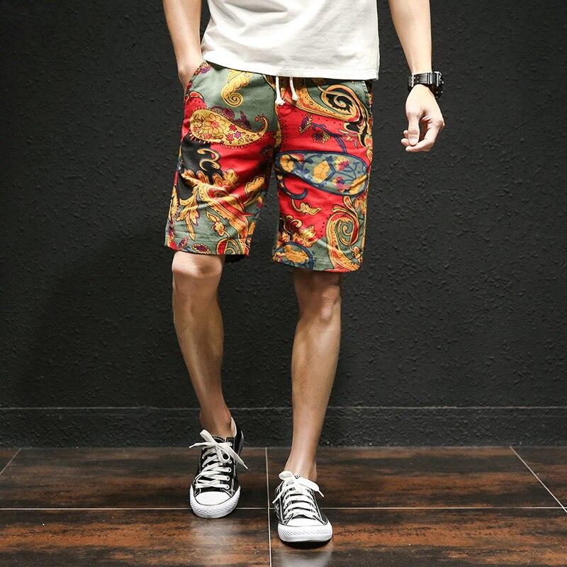 2019 Fashion Japanese Casual   Shorts   Men Drawstring Printed Streetwear Mens   Shorts   Summer Men   Shorts   Cotton Linen Clothes