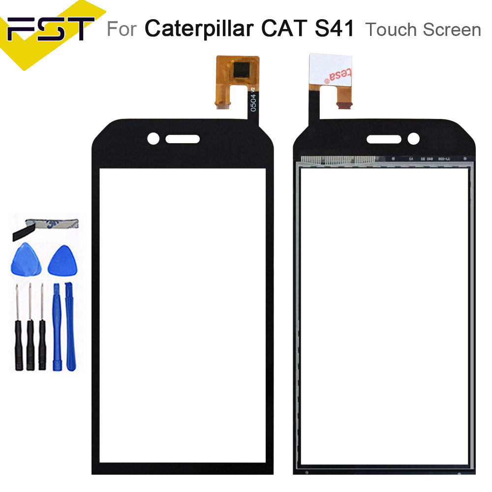 Black 5.0 inch Touch Screen Digitizer For Caterpillar Cat S41 Cat S 41  Touch Screen Front Glass Panel Lens Sensor+Tools|Mobile Phone Touch Panel| |  - title=
