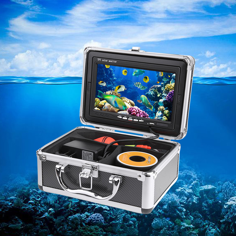 7 Color LCD Fishing Camera HD 1000TVL CMOS Sensor Underwater Video Camera System Kit Fish Finder With Night Vision 30M Cable 1 set 50m cable 360 degree rotative camera with 7inch tft lcd display and hd 1000 tvl line underwater fishing camera system