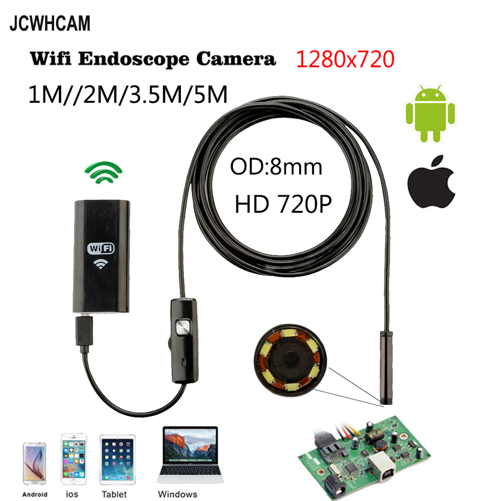 1m 2m 3.5m 5m Cable IOS Android Wifi Endoscope with 8mm Len IP67 Waterproof IOS Endoscope Snake Inspection Borescope Camera цены