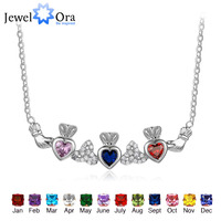 925 Sterling Silver Claddagh Necklace&Pendants 3 Heart Customized Stones Personalized Jewelry Irish Friendship JewelOraNE101905