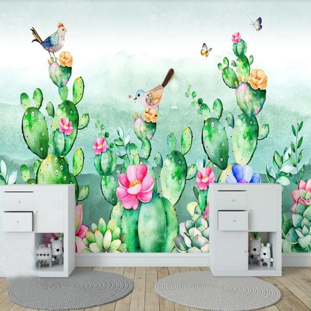 Cactus Flower Bird Wallpaper Mural Wall Paper Rolls Kids Bedroom