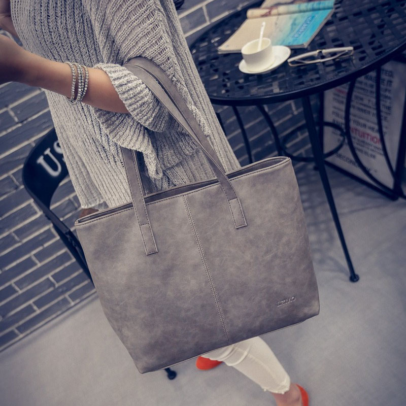 2016 autumn winter women s vintage handbag brief shoulder big bags gray black PU Leather large