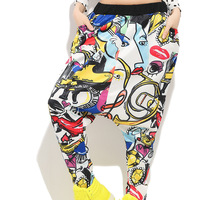 2017 Summer Plus size Women Fashion Casual Loose Harem Pants Print Holiday hip hop clothes Beach Trousers Female Wide Leg Pants