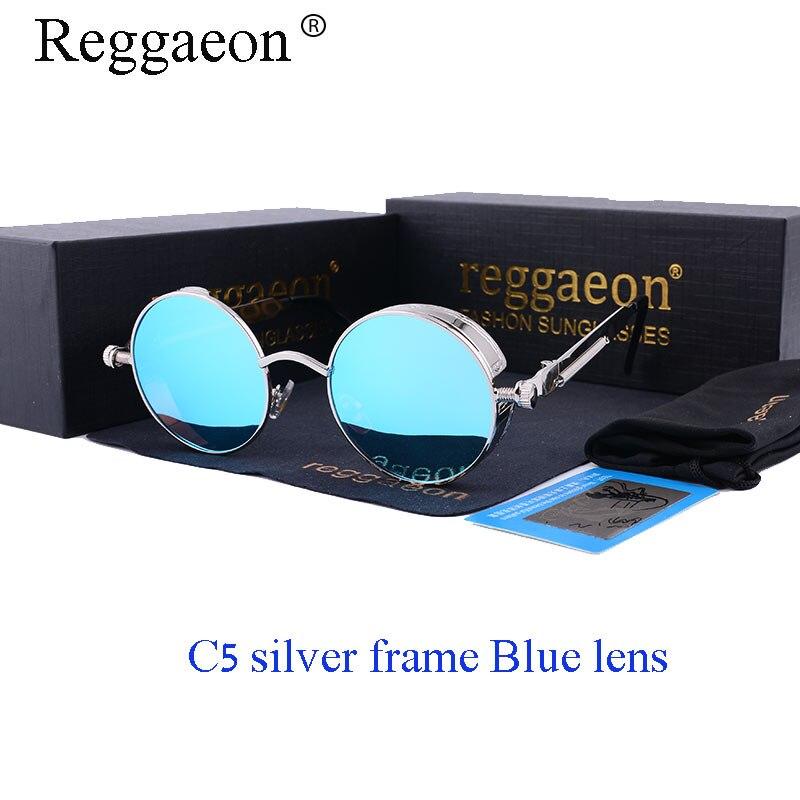 Round Polarized Steampunk Goggles Retro Male Sunglasses Men UV400 Vintage Women Gothic Sun Glasses Gold Black Steam Punk