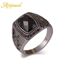 цена на Size 8-11 Fashion New  18K White Gold Plated Black Stone Ring For Men