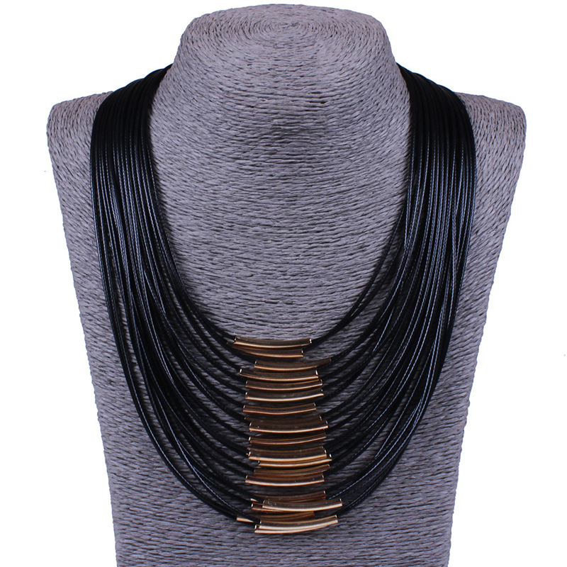 N681 Bohemian Exaggerated Style Black Rope Chain Female Multilayer Leather Chain Tassels Pendant Necklace For Women Jewelry
