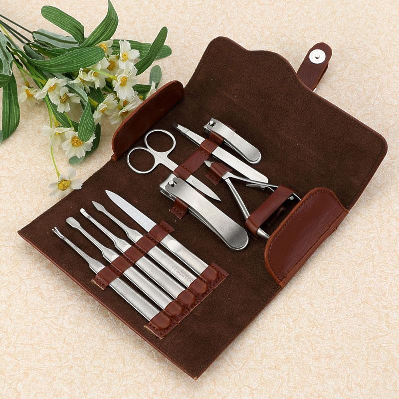 11 Pcs Nail Care Tools Kit Stainless Steel Pedicure Scissor Tweezer Cutter Clipper File Earpick Manicure Set With PU Bag HS11