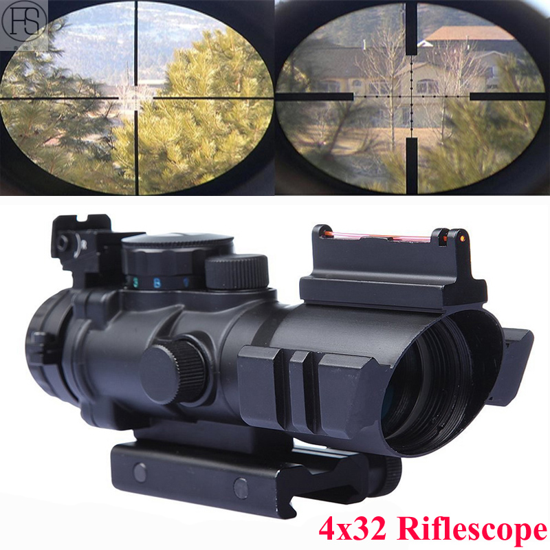 Hot Sale Tactical 4x32 Rifle Scope Front Rear Sights Hunting Shooting Sniper Scope Mini Red Dot Airsoft Sight Scopes Riflescope marcool 4 16x44 side focus front focal plane optical sights rifle scope hunting riflescopes for tactical gun scopes for adults