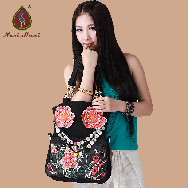 Naxi.Hani brand designA variety of styles embroidered women handbags Black canvas Vintage fashion casual Messenger bags-in Shoulder Bags from Luggage & Bags    1