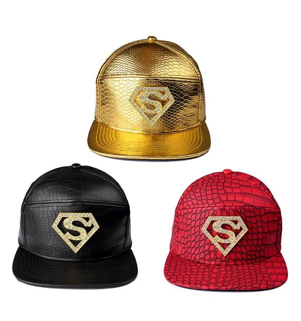 Vogue Golden PU Leather Crocodile Ghost VIP Baseball Caps Diamond  Rhinestone Batman Snapback Hats men women hip hop hat 8db5103f5817