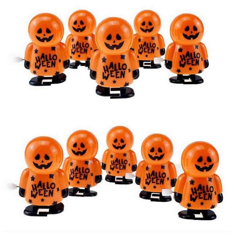 1 Pc neue reizende Lustige Halloween Uhrwerk Geschenk Wind Up Bounce Spielzeug Requisiten Spielzeug Orange Kürbis Mann Wind Up Spielzeug