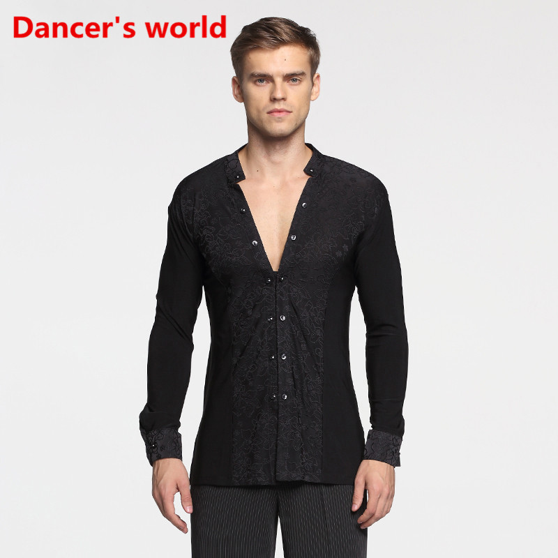 Pattern Long Sleeve Button Mens Latin Shirts Dance Top Ballroom Latin Dance Costumes Stage Clothing For Men Ballroom Clothes