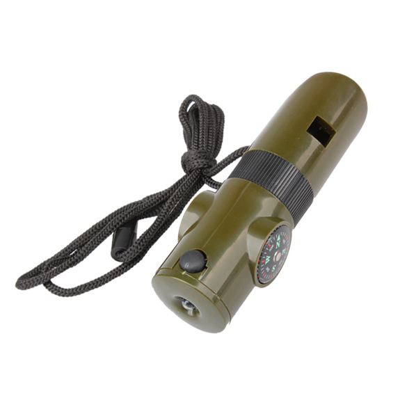 Outoor edc tool survival safe Mini Whistling Whistle Compass Military Survival Whistle with Compass and LED Light hiking camping