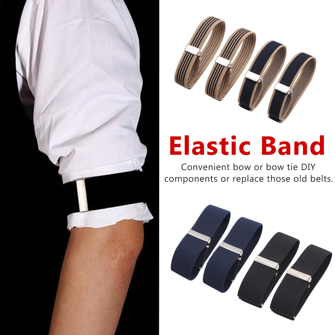French Gentleman Shirt Elastic Sleeves Cuffs Armbands Man Shirts Bartenders Bracelets Arms With Sleeves Decoration