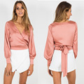Sexy Women  V Neck Satin Blouse Shirt Autumn Female Clothing Long Sleeve  Bow Cross Tops Blusas