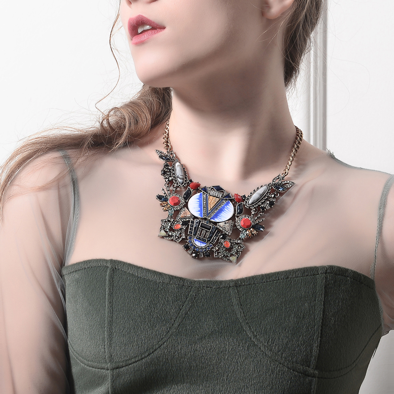 цена на Big Geometric Pendant Enamel Natural Stone Collar Necklace aliexpress Chunky Retro Statement Necklace Women Jewelry