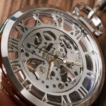 Hot Sale Elegant Fashion Classic Transparent Skeleton Silver Mechanical Hand Wind Poket Watch for Girls relogio de bolso