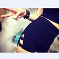 2016 Fashion Women Shorts rivet decoration Short  Women's High Waist Slim Sexy Shorts Dark rock punk thong stitching Shorts