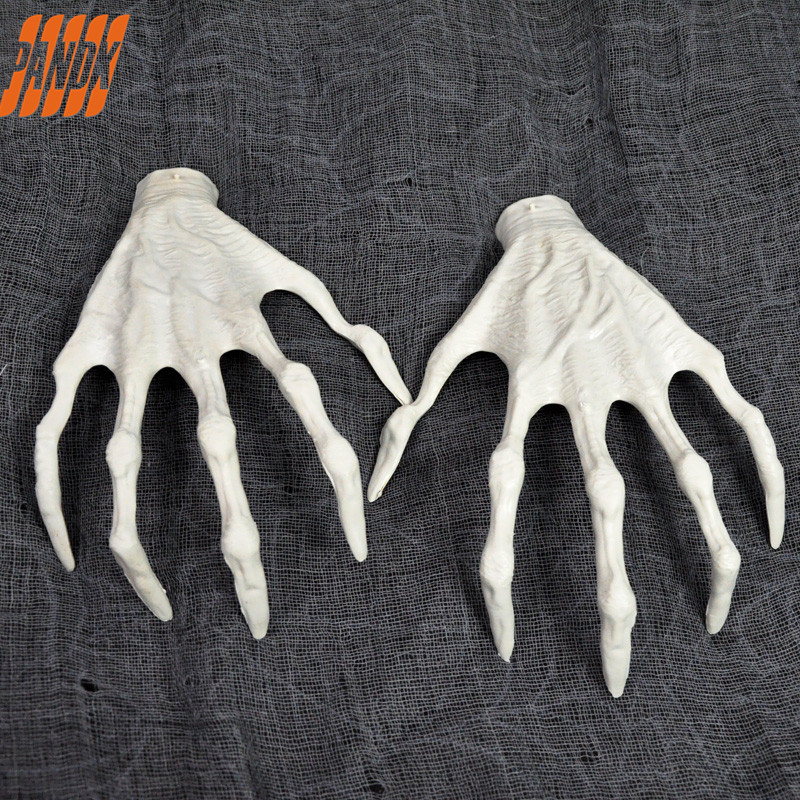 One Pair Halloween Plastic Skeleton Witch Hands Haunted