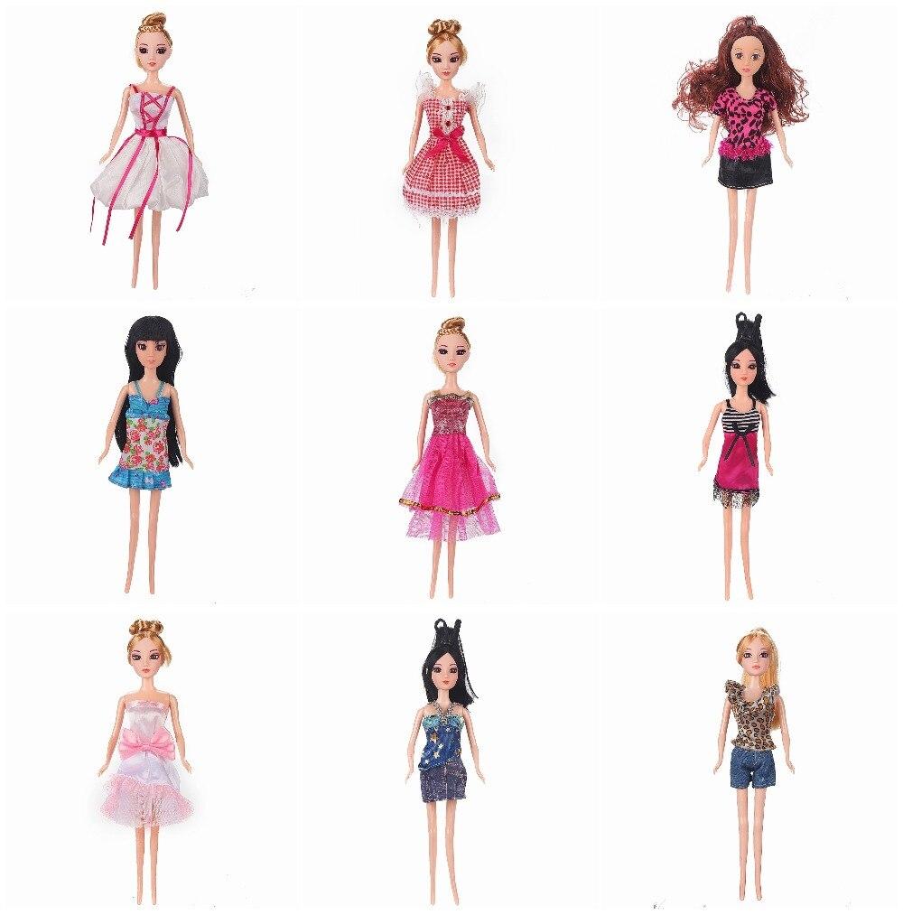 9/lot Оригинальный стиль случайная смесь Куклы красивая наряд модные платья для
