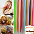 50cm 18 Color Synthetic Hair Extension Long Straight Clip In Hair Extensions Heat Resistant Colorful Hairpiece